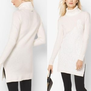 Michael Kors Lace-Embroidered Turtleneck Tunic